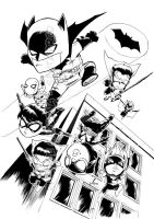 Bat Family print BW by dekarogue