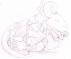 Daily Drawing Day 221 Taking It Easy by MidnightHuntingWolf