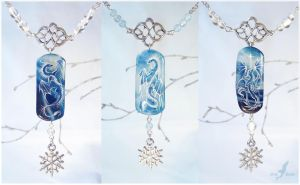 Winter dragons -FOR SALE- stone painting necklaces by AlviaAlcedo