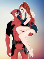 Deadpool and Harley Quinn by Little-thoughtz