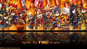 Brave Frontier Fire Units Wallpaper by fickleheartedgeek
