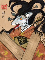 Hair Demon Yokai Badge by DrunkenSaytr