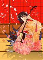 Nine Tailed with Shamisen by Sakuragichan