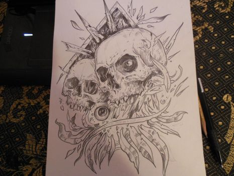 skulls and leafs sketch by TimurKhabirov