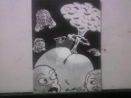 THE ASS THAT DESTROYED THE WORLD SKETCH CARD by shawncomicart