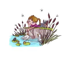 ducks and cattails by VODKABABY