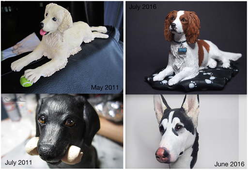 :.Improvement - dog sculptures.: by XPantherArtX