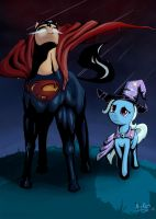 The Great and Powerful Superpony and Trixie by NivRozs