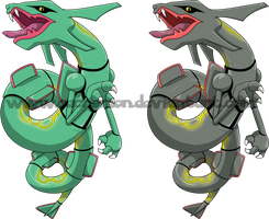 Rayquaza + shiny by Cachomon