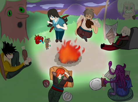RPG COVER: Epique team around the fire by FlotVitality