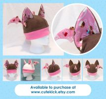 Cupcakes Bat Hat Pink Chocolate Brown White by cutekick