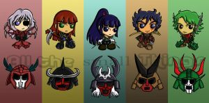 Ronin Warroir Warlords chibis by Kasandra-Callalily