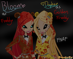 Bloom and Daphne as Freddy and Golden Freddy by Pumpkin-Pai