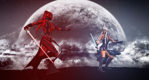 Darth Talon and Ahsoka Fight by Ukiandre