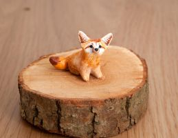 Fennec fox animal totem, polymer clay by lifedancecreations