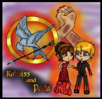 Katniss and Peeta colored by Fallonkyra