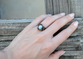 Amazonite wire wrapped vintage ring by IanirasArtifacts