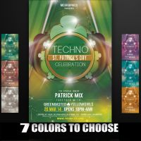 Techno St. Patrick's Day Flyer Template by MCerickson