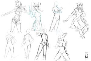 Sketchdump - posing practices by BeigePaladin