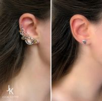 Silver wire wrapped ear cuff and stud by JuliaKotreJewelry