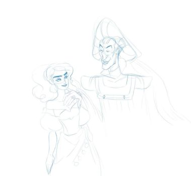 Frollo and ezzie by speckledwanderer