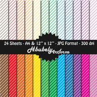 Digital Paper - Diagonal Stripes - 12 Colours by HbubelyArtForms