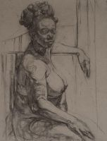Charcoal on paper life drawing by mashabraslavsky