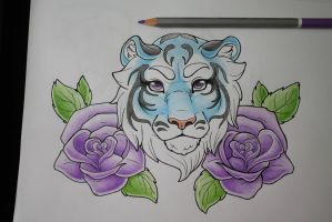 Tattoo Design: Blue tiger with Violet Roses by MySweetQueen