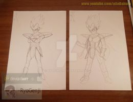 Abandoned/Unfinished drawings - Vegeta Sketches by RyoGenji
