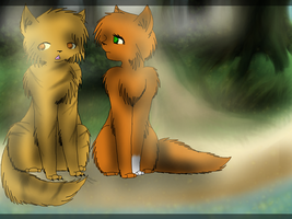 Forgotten Warrior: Lionblaze and Squirrelflight by Amerikat