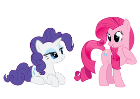 Rarity and Pinkie Pie mane-swapped by rolin11