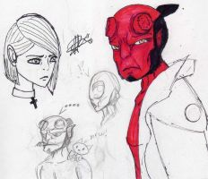 hellboy doodles by misslolas