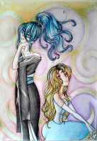 Request: Misaki and Elisabeth (coloured) by mirimitosa