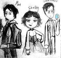 Shelley, Poe and Lovecraft by ravenviolet777