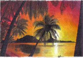 tropical beach sunset by Jarryn