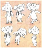 Girl character designs by elbooga