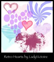 Retro Heart Brushes by LadyVictoire
