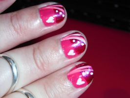 Pink and white nail art design 4 by Amazinadrielle