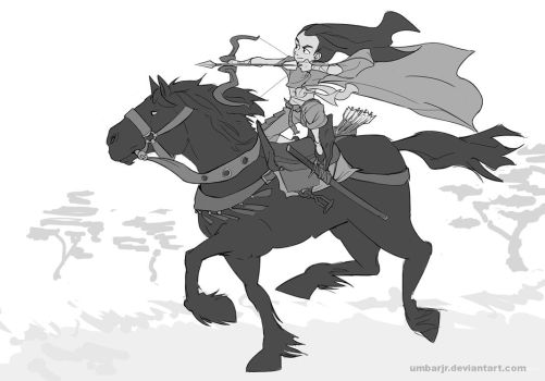 Archer Girl on Horseback by UmbarJr