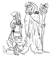 Ent Druid And Elf Sorceress by yongharn