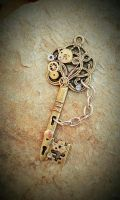 Hands of Time Fantasy Key Pendant by ArtByStarlaMoore
