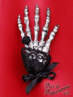 Victorian Skeleton Hand Brooch by ArtOfAdornment