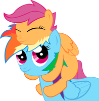 Rainbow Dash + Scootaloo by Cronnox
