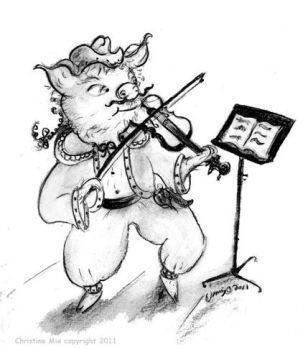 Fiddle Pig, by Christine Mix by ChrisMixArt