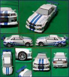 Nissan Skyline GTR R34 2 Fast 2 Furious Papercraft by Mironius