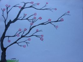 Watercolor cherry blossom tree by willow1894