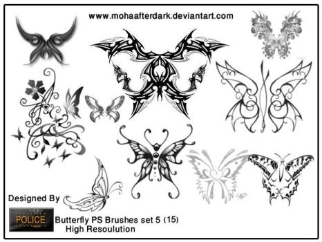 butterfly brushes set5 by mohaafterdark