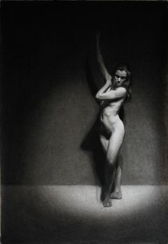 Nude Dancer Charcoal Drawing by LordSnooty