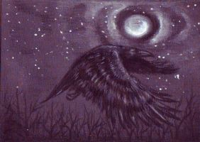 ACEO - Flying raven by SybilaSulfur