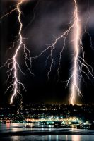 Lightning Storm over NYC by Dilznacka